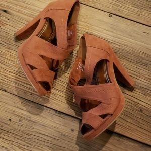 H&M EUC Brown Suede High Heel Sandals